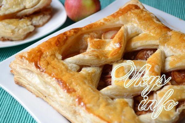 Пирожки с яблоками из слоеного теста рецепт с фото пошагово в духовке