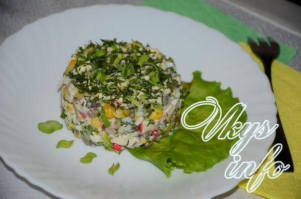 рецепт салата из шампиньонов крабовых палочек