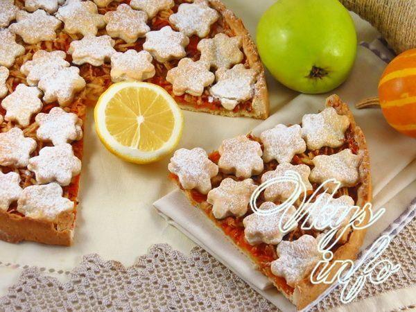 рецепт Песочный пирог с тыквой и яблоками