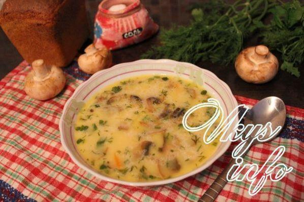 суп пюре из шампиньонов со сливками на курином бульоне