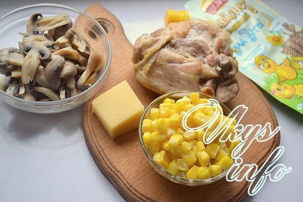 салат с курицей и шампиньонами консервированными с фото