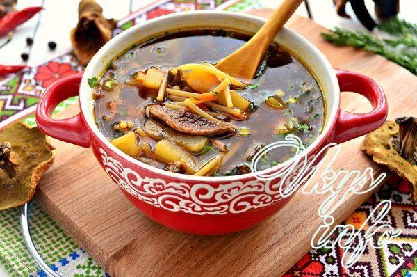 суп из сушеных грибов с вермишелью и картофелем рецепт