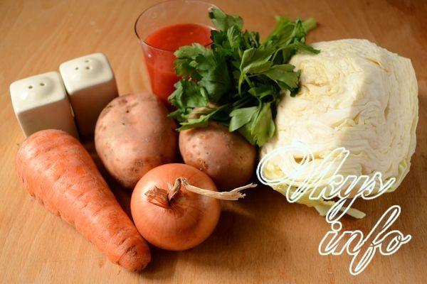 Как вкусно потушить картошку с капустой фото ингредиенты