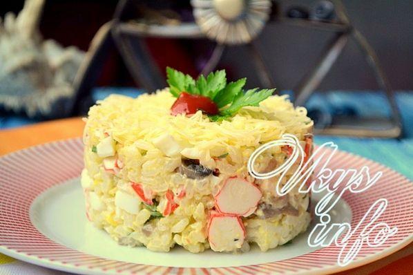 Какой салат можно сделать из маринованных шампиньонов