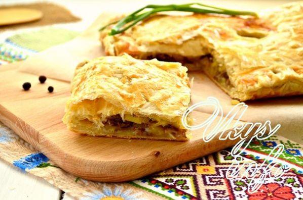 Рецепт слоеного пирога с фаршем пошагово