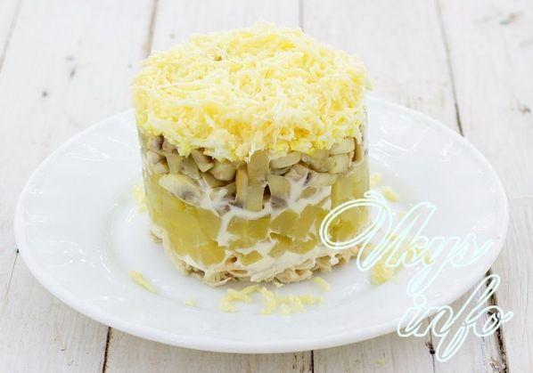 салат с грибами и с ананасами слоями рецепт