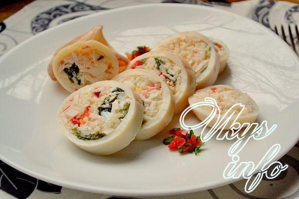 рецепт фаршированных кальмаров с рисом и яйцом в духовке