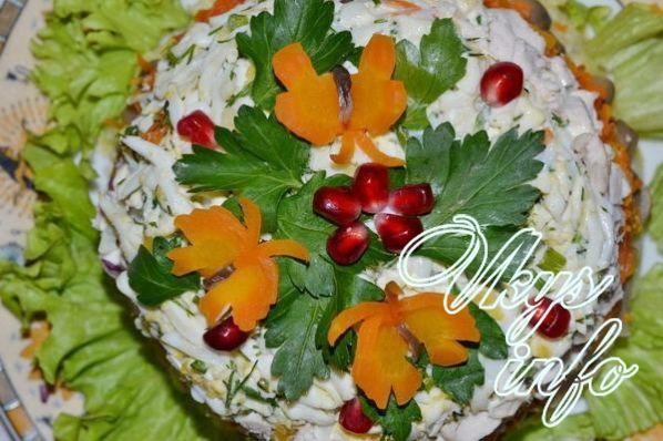 Курочка ряба салат с ананасами рецепт с фото