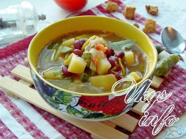 Рассольник с фасолью и солеными огурцами рецепт пошагово 88