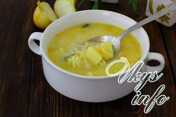 Суп с лапшой и сыром рецепт