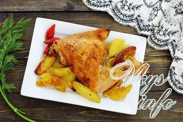 рецепт Окорочка с картошкой в духовке