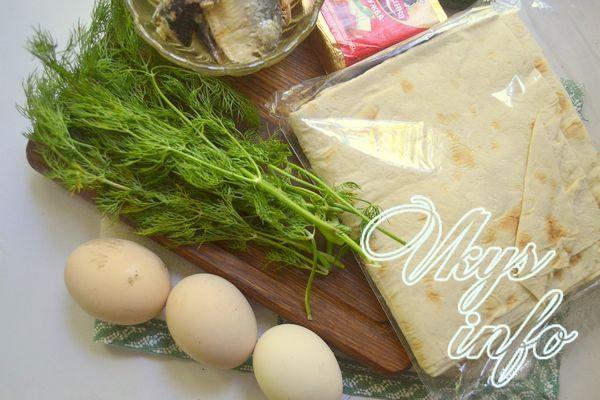 Рулет из лаваша с рыбными консервами и плавленым сыром ингредиенты