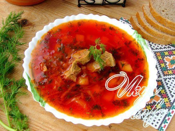 как приготовить борщ без свеклы с томатной пастой