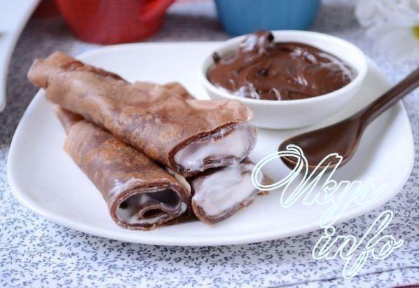 Шоколадные блинчики с молоком рецепт с фото