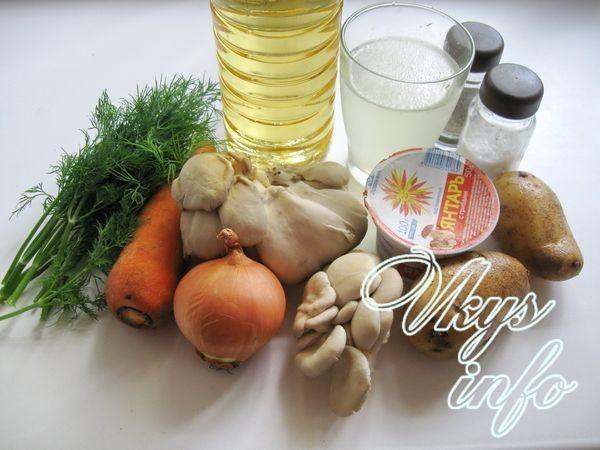 Суп из вешенок с плавленым сыром ингредиенты