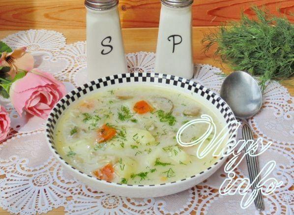 суп из вешенок с плавленым сыром