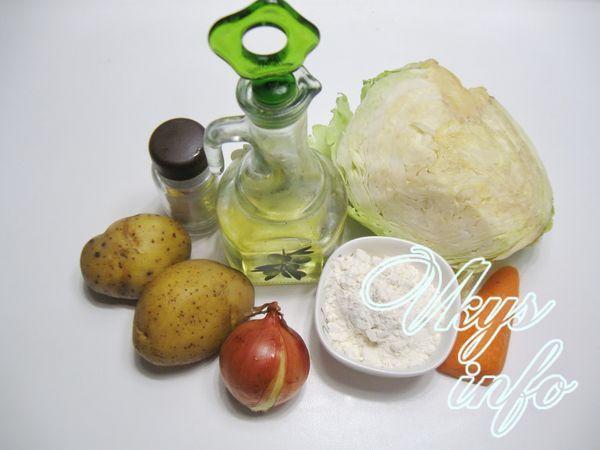Постные картофельные зразы с капустой ингредиенты