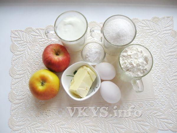 Заливной пирог с яблоками (на кефире) фото ингредиенты
